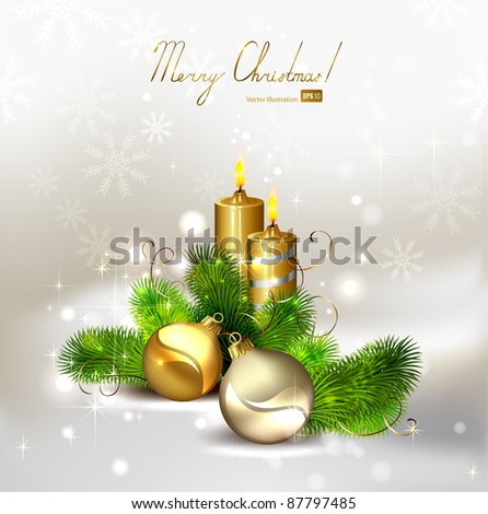 Christmas background with burning candles and Christmas bauble