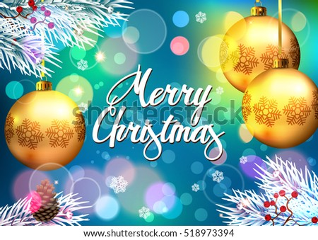 Christmas. Background with Christmas Baubles. Christmas greeting.
