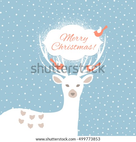 Christmas background with Christmas deer. Vector illustration.