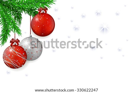 Christmas background with christmas red and silver balls, spruce and snowflakes - vector illustration #330622247