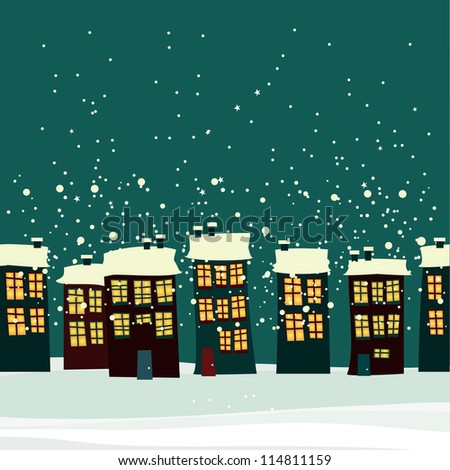 Christmas background with city. seamless