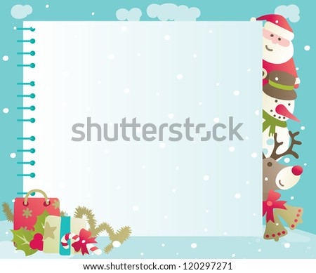Christmas background with copy space. Vector backgrounds of baubles with Santa, snowman, Rudolph The Red-nosed Reindee and christmas decorations .