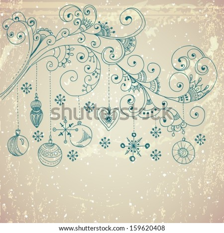 Christmas background with cute decorations and floral elements for holiday design, Vector