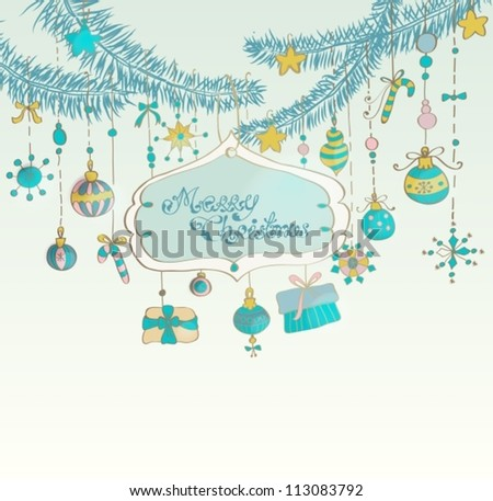Christmas background with cute decorations and place for text, illustration, vector