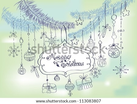 Christmas background with cute decorations and place for text, vector