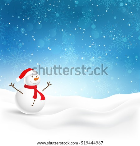 Christmas background with cute snowman in snow