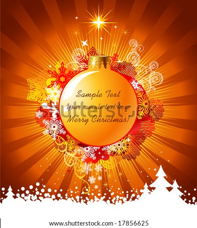 Christmas background with decorations / vector / with copy space for your text