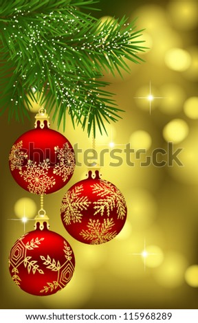 Christmas background with fir branch and red baubles