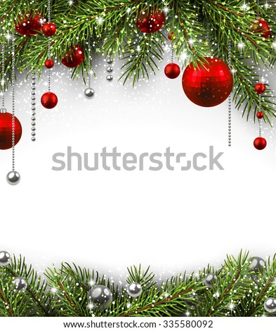 Christmas background with fir branches and balls. Vector illustration.