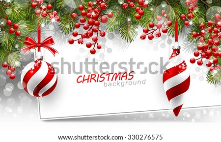 stock-vector-christmas-background-with-fir-branches-and-red-balls-with-decorations-vector-illustration