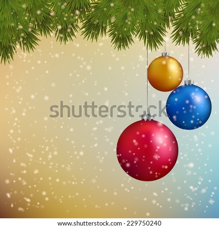 Christmas background with fir twigs and bright balls Vector illustration