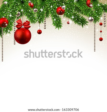 Christmas background with fir twigs and red balls. Vector illustration.  #163309706