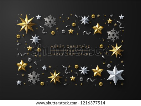 Christmas Background with Frame made of Gild and White Stars, silver Snowflakes and Beads