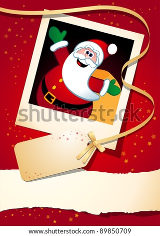 Christmas background with funny Santa, vector - stock vector