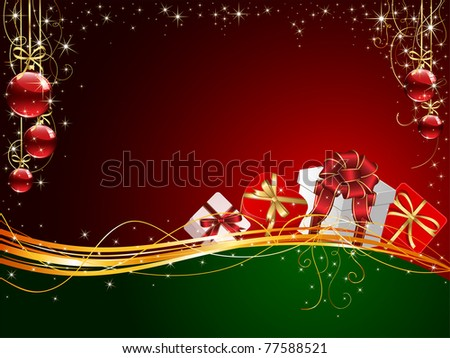 Christmas background with Gift boxes and balls, illustration
