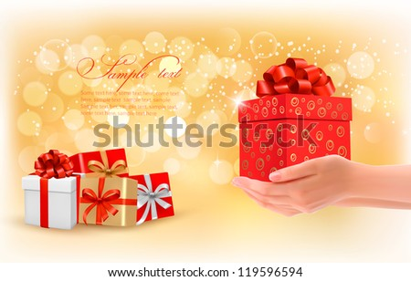 Christmas background with gift boxes. Concept of giving presents. Vector illustration.