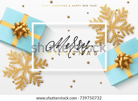 Christmas background with gifts and shining golden snowflakes. Merry Christmas card vector Illustration.