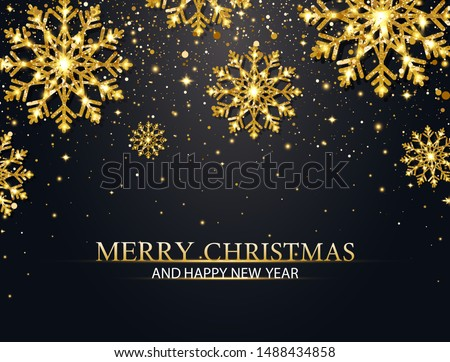 Christmas background with glitter snowflakes and falling particles. Merry Christmas and Happy New Year banner. Luxury festive greeting card. Sparkling golden snowflakes. Vector Illustration.