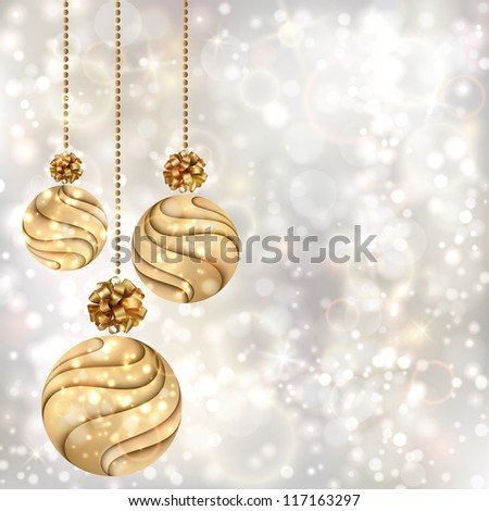 Christmas background with gold balls. EPS10