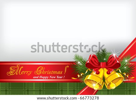 Christmas background with gold bells and a checkered cloth (tartan)