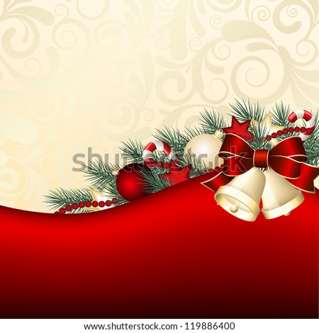 Christmas background with gold bells.  Vector illustration