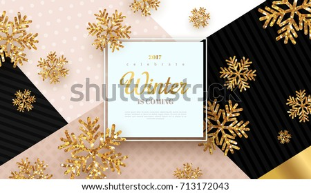 Christmas background with gold snowflakes. Vector illustration. Square frame with place for text on trendy geometric backdrop. Winter template design for posters, flyers, brochures or vouchers.