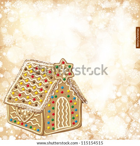 Christmas background with golden lights and gingerbread house.