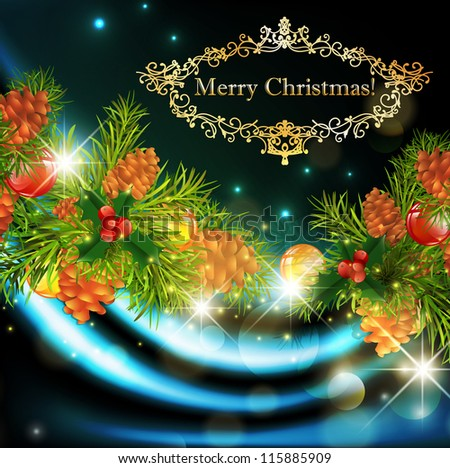 Christmas Background With Green Fir and Holiday Decoration - stock vector