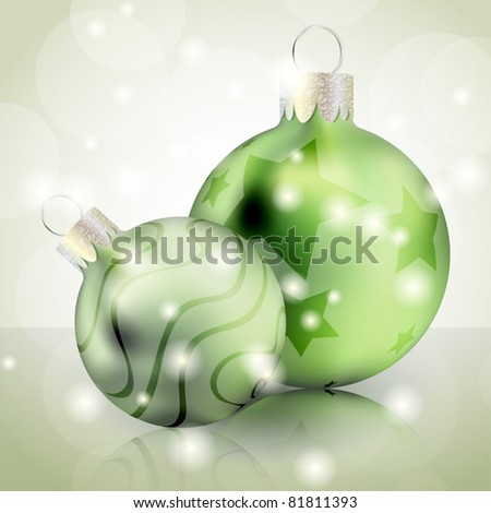 Christmas background with green shiny balls