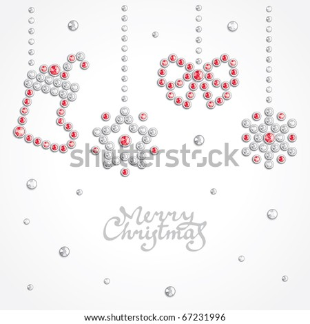 Christmas background with holiday symbols silhouettes composed of crystals