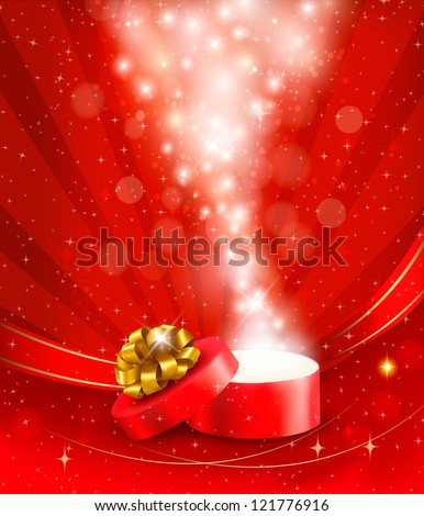 Christmas background with open gift box. Vector illustration.