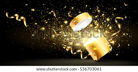 Christmas background with open golden gift with stars and confetti