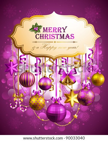 Christmas background with place for text. Vector illustration.