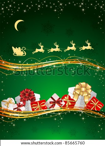 Christmas background with Presents, snowflakes and Santa's sleigh, illustration