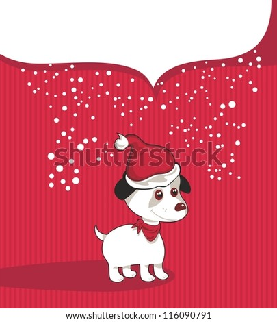 Christmas background with puppy and speech balloon for your text