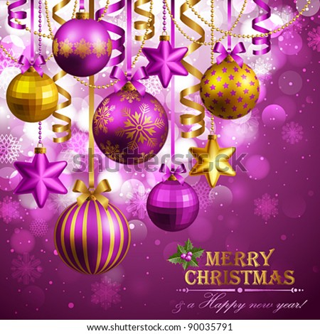 Christmas background with purple and golden baubles. Vector illustration. Check my portfolio for raster version.