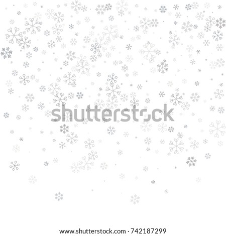 Christmas background with random scatter falling silver snowflakes isolated on white.