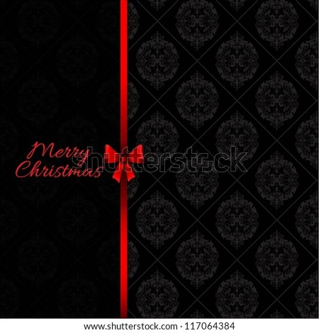 Christmas background with red bow and damask pattern
