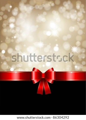 Christmas background with red bow and glittery gold theme