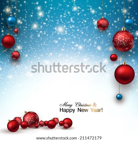 Christmas background with Red christmas balls and snow for xmas design. Vector illustration.