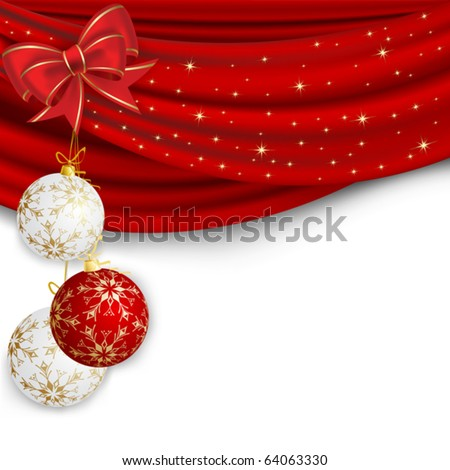 Christmas background with red curtain and ball