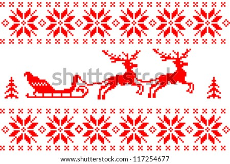 Christmas background with reindeer and sled