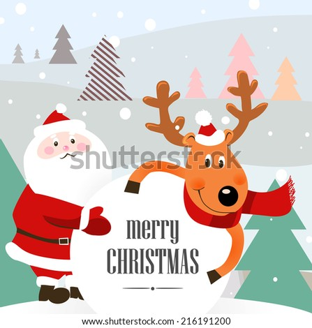 christmas background with Santa and a deer