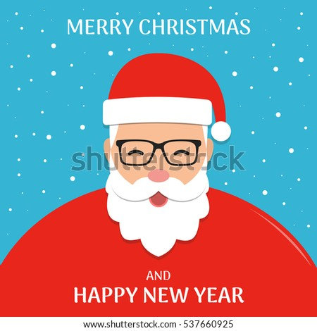 christmas background with santa claus merry christmas and happy new year wishes flat vector