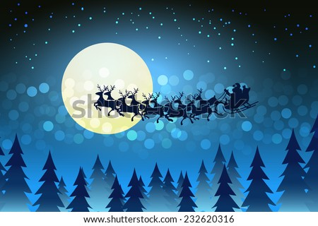 Christmas background with Santa driving his sleigh across the face of the moon on a starry cold winter night surrounded by a bokeh of sparkling lights and stars copy space for your seasonal greeting
