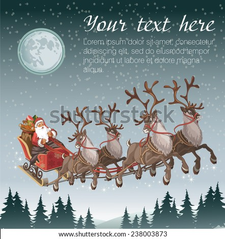Stock Photo Christmas background with Santa driving his sleigh across the face of the moon on winter night and copy space for your text
