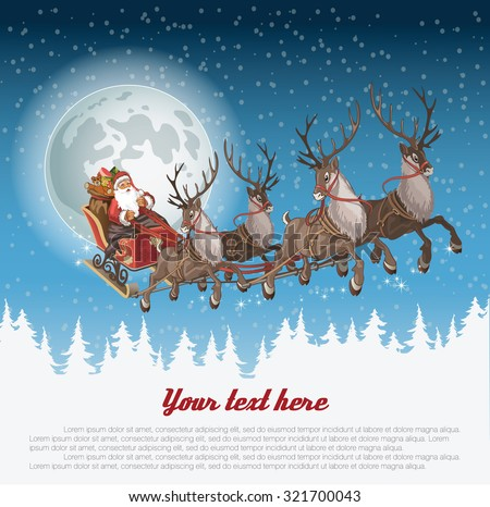Stock Photo Christmas background with Santa driving his sleigh across the face of the moon on winter night and copyspace for your text