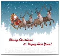 Christmas background with Santa driving his sleigh on winter night and copy-space for your text