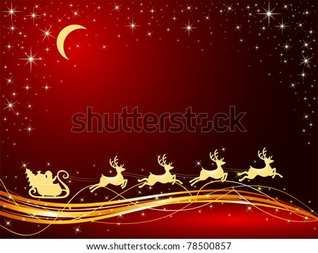 Christmas background with Santa's sleigh, illustration - stock vector