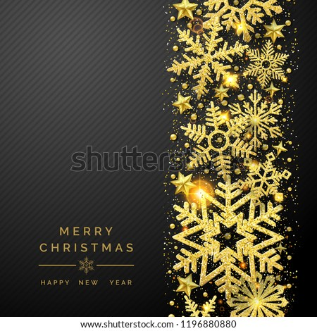 Christmas background with shining golden snowflakes and snow. Merry Christmas card illustration on black background. Sparkling golden snowflakes with glitter texture